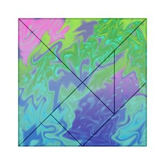 Green Blue Pink Color Splash Acrylic Tangram Puzzle (6  X 6 ) by BrightVibesDesign