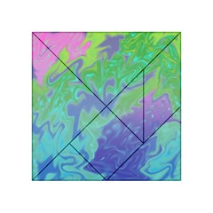 Green Blue Pink Color Splash Acrylic Tangram Puzzle (4  X 4 ) by BrightVibesDesign