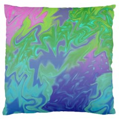 Green Blue Pink Color Splash Large Flano Cushion Case (two Sides) by BrightVibesDesign
