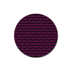 Pink Black Retro Tiki Pattern Magnet 3  (Round) by BrightVibesDesign