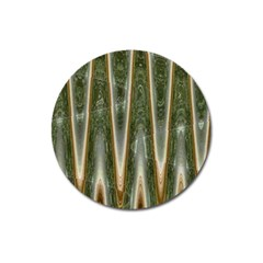Green Brown Zigzag Magnet 3  (round) by BrightVibesDesign