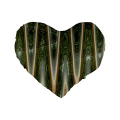 Green Brown Zigzag Standard 16  Premium Flano Heart Shape Cushions by BrightVibesDesign
