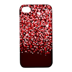 Red Glitter Rain Apple iPhone 4/4S Hardshell Case with Stand by KirstenStar