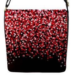 Red Glitter Rain Flap Messenger Bag (S) by KirstenStar