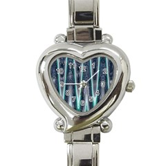 Blue Turquoise Zigzag Pattern Heart Italian Charm Watch by BrightVibesDesign