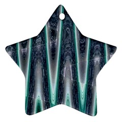 Blue Turquoise Zigzag Pattern Ornament (star)  by BrightVibesDesign