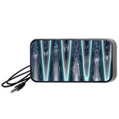 Blue Turquoise Zigzag Pattern Portable Speaker (black)  by BrightVibesDesign
