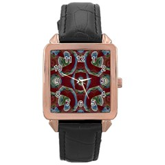 Fancy Maroon Blue Design Rose Gold Leather Watch  by BrightVibesDesign
