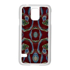 Fancy Maroon Blue Design Samsung Galaxy S5 Case (white) by BrightVibesDesign