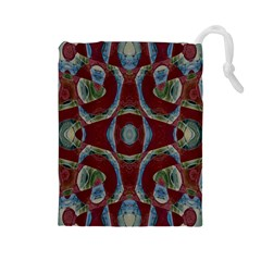 Fancy Maroon Blue Design Drawstring Pouches (large)  by BrightVibesDesign