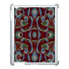 Fancy Maroon Blue Design Apple Ipad 3/4 Case (white) by BrightVibesDesign