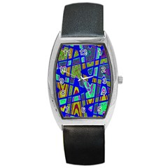 Bright Blue Mod Pop Art  Barrel Style Metal Watch by BrightVibesDesign