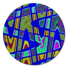 Bright Blue Mod Pop Art  Magnet 5  (round) by BrightVibesDesign