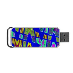 Bright Blue Mod Pop Art  Portable Usb Flash (one Side) by BrightVibesDesign