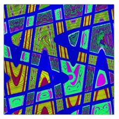 Bright Blue Mod Pop Art  Large Satin Scarf (square) by BrightVibesDesign