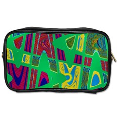 Bright Green Mod Pop Art Toiletries Bags by BrightVibesDesign