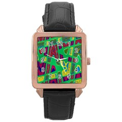 Bright Green Mod Pop Art Rose Gold Leather Watch  by BrightVibesDesign