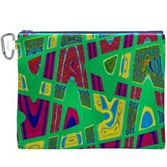 Bright Green Mod Pop Art Canvas Cosmetic Bag (xxxl)  by BrightVibesDesign