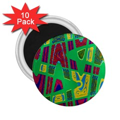 Bright Green Mod Pop Art 2 25  Magnets (10 Pack)  by BrightVibesDesign