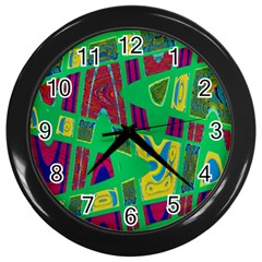 Bright Green Mod Pop Art Wall Clocks (black) by BrightVibesDesign