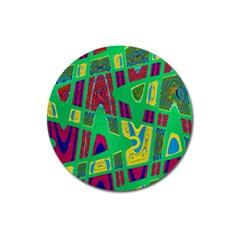 Bright Green Mod Pop Art Magnet 3  (round) by BrightVibesDesign