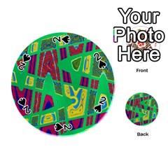 Bright Green Mod Pop Art Playing Cards 54 (round)  by BrightVibesDesign