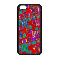 Bright Red Mod Pop Art Apple Iphone 5c Seamless Case (black) by BrightVibesDesign