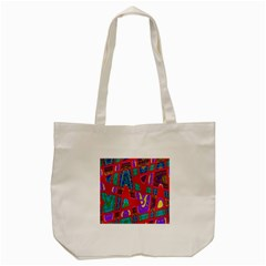 Bright Red Mod Pop Art Tote Bag (cream) by BrightVibesDesign