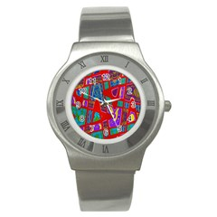 Bright Red Mod Pop Art Stainless Steel Watch by BrightVibesDesign