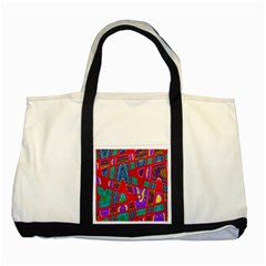 Bright Red Mod Pop Art Two Tone Tote Bag by BrightVibesDesign
