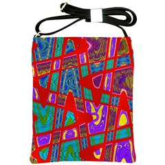 Bright Red Mod Pop Art Shoulder Sling Bags by BrightVibesDesign