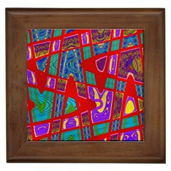Bright Red Mod Pop Art Framed Tiles by BrightVibesDesign