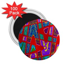 Bright Red Mod Pop Art 2.25  Magnets (100 pack)  by BrightVibesDesign