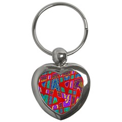 Bright Red Mod Pop Art Key Chains (heart)  by BrightVibesDesign