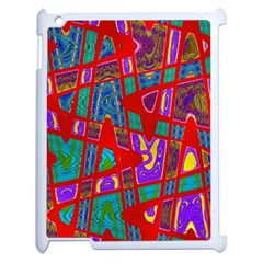 Bright Red Mod Pop Art Apple Ipad 2 Case (white) by BrightVibesDesign