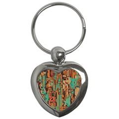 Brown Green Texture                              key Chain (heart) by LalyLauraFLM