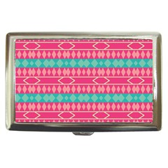Pink blue rhombus pattern                               Cigarette Money Case by LalyLauraFLM