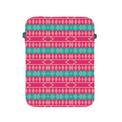 Pink Blue Rhombus Pattern                               			apple Ipad 2/3/4 Protective Soft Case by LalyLauraFLM