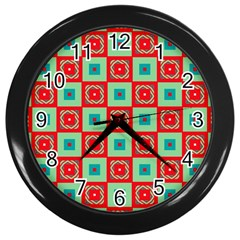 Blue Red Squares Pattern                                wall Clock (black) by LalyLauraFLM