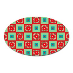 Blue Red Squares Pattern                                			magnet (oval) by LalyLauraFLM