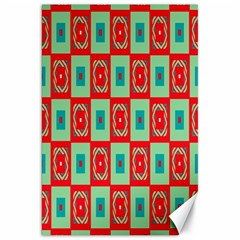 Blue red squares pattern                                Canvas 20  x 30  by LalyLauraFLM