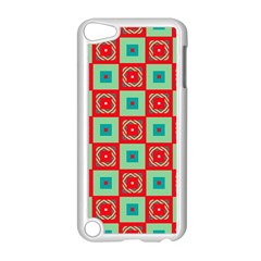 Blue Red Squares Pattern                                apple Ipod Touch 5 Case (white) by LalyLauraFLM