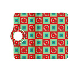Blue Red Squares Pattern                                kindle Fire Hdx 8 9  Flip 360 Case by LalyLauraFLM