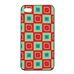 Blue Red Squares Pattern                                			apple Iphone 4/4s Seamless Case (black) by LalyLauraFLM
