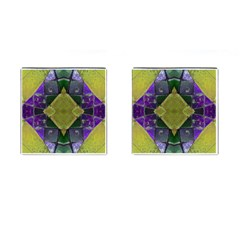 Purple Yellow Stone Abstract Cufflinks (square) by BrightVibesDesign