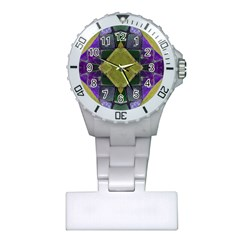 Purple Yellow Stone Abstract Plastic Nurses Watch by BrightVibesDesign