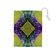 Purple Yellow Stone Abstract Drawstring Pouches (Medium)  by BrightVibesDesign
