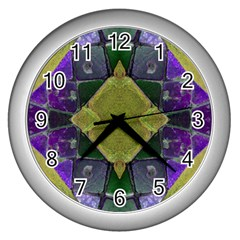 Purple Yellow Stone Abstract Wall Clocks (silver)  by BrightVibesDesign