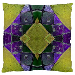 Purple Yellow Stone Abstract Large Flano Cushion Case (one Side) by BrightVibesDesign