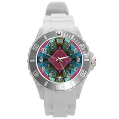 Pink Turquoise Stone Abstract Round Plastic Sport Watch (L) by BrightVibesDesign